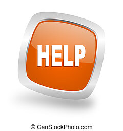 help square orange glossy chrome silver metallic web icon