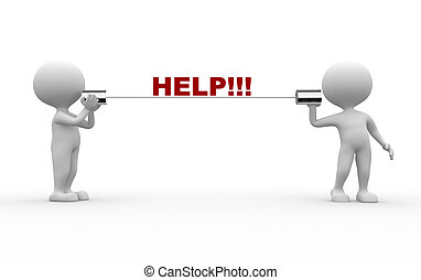 Help! - 3d people - men, person talking on a homemade can...