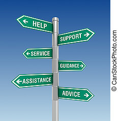 help support signs concept 3d illustration