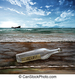 Help message in a bottle with background contaminated sea