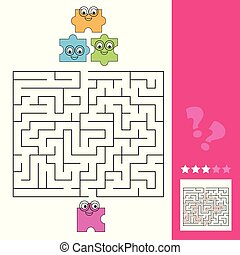 Help the puzzle piece to find the way to the puzzle, maze game for kids, answer