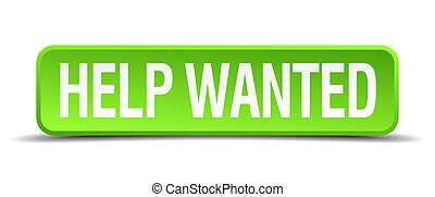 help wanted green 3d realistic square isolated button