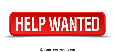 help wanted red 3d square button on white background