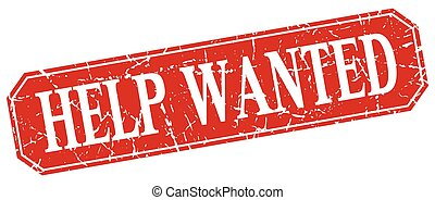 help wanted red square vintage grunge isolated sign