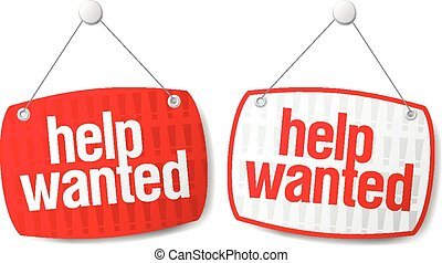 Help wanted signs - Help wanted red signs set.