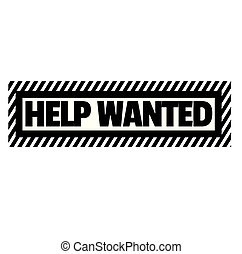Help wanted stamp on white