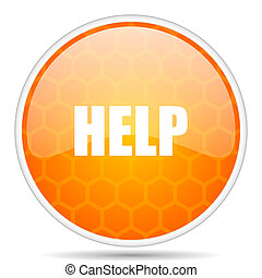 Help web icon. Round orange glossy internet button for webdesign.