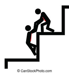 Vector , illustration. Team work to climb the stairs.