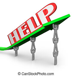 Help Word on Arrow Teamwork Lifting Together to Win