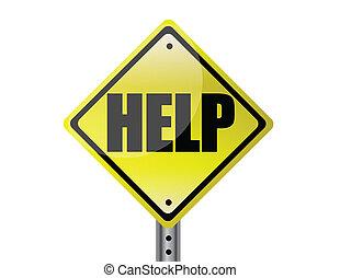 Help Yellow street sign