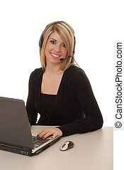 Helpdesk Girl 207 - Lovely blond woman working at help desk