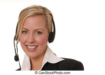 Helpdesk Girl 21 - Lovely blond woman working at help desk