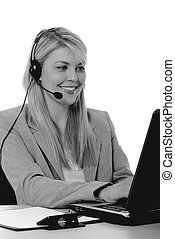 Helpdesk Girl - Lovely blond woman working at help desk