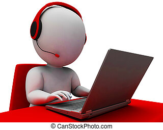 helpdesk, hotline, operador, mostrando, apoio