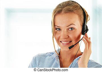 helpdesk., téléopérateur, operator., support., client