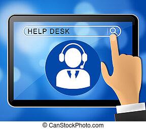 Helpdesk Tablet Representing Faq Advice 3d Illustration