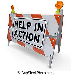 helpen, barrière, verbetering, plan, barricade, actie