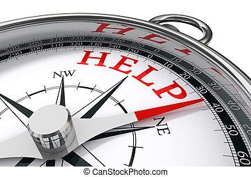 helpen, concept, kompas