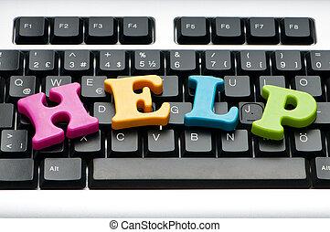 helpen, concept, met, brieven, op, toetsenbord