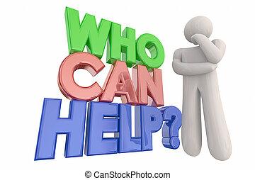 helpen, denken, vraag, illustratie, persoon, groenteblik, woorden, 3d