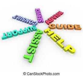 helpen, -, gekleurde, woorden, in een cirkel