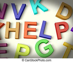 helpen, geschreven, in, veelkleurig, plastic, geitjes, brieven