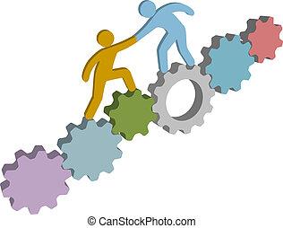 helpen, mensen, oplossing, technologie, vinden, 3d