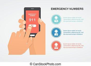 helpen, noodgeval, beweeglijk, getal, hand, telefoon,...