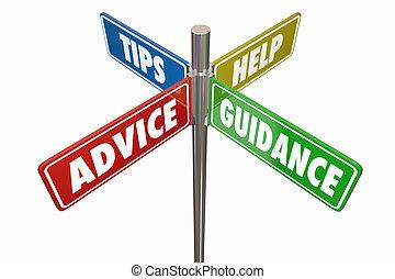 helpen, raad, illustratie, tekens & borden, tips, leiding, straat, 3d