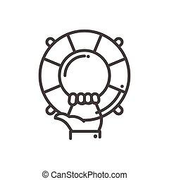 helpen, steun, moderne, -, vector, ontwerp, lijn, illustrative, pictogram