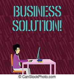 helpen, tekst, meldingsbord, computer, stoel, zijn, werkende , doelstellingen, ideeën, foto, conceptueel, bedrijf, bereiken, gebruikt, zakelijk, zittende , solution., het tonen, recht, boekjes , zakenman, tafel.