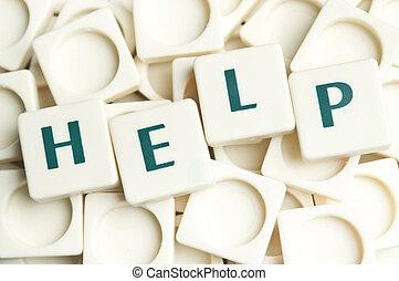 helpen, woord, gemaakt, door, leter, stukken
