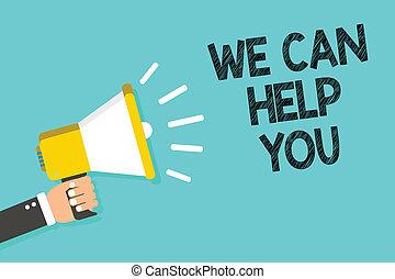 helpen, you., foto bericht, speaking., blauwe , zakelijk, dienst, hulp, schrijvende , aantekening, vasthouden, megafoon, luidspreker, wij, offergave, het tonen, aandacht, achtergrond, man, klant, groenteblik, showcasing, steun