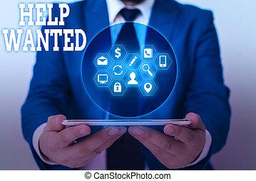 helpen, zakelijk, foto, het tonen, schrijvende , merk papier op, plaatsen, employee., showcasing, nieuw, werkgever, vinden, wanted., advertentie