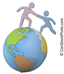 Helper reach help friend up global world - Global person ...