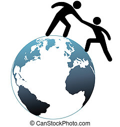 Helper reach out helps friend up top of world - A person...