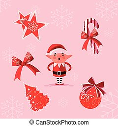 helper santa claus with set icons