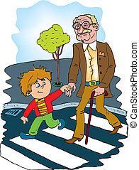 helpful children to help the old man. color vector