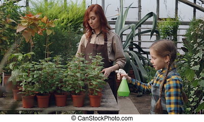 Helpful daughter is helping her mom in greenhouse sprinkling water on pot flowers using spray bottle. Agriculture, growing plants, happy family and childhood concept.