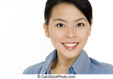 A cropped image of a helpful looking young asian businesswoman on white background