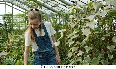 Helpful girl is watering green plants from spray bottle working in greenhouse alone enjoying work smiling. Childhood and farming activities concept.
