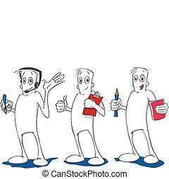 Helpful Guy - Three cartoons of a helpful cartoon figure in...