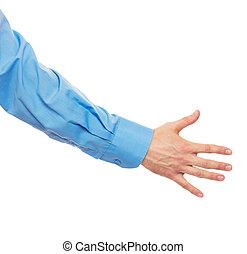 Helpful male hand on white
