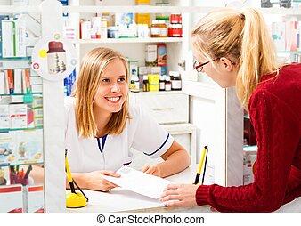 Helpful Pharmacist - Kind helpful pharmacist explaining tor...