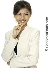 Helpful Smile - A smiling asian woman in a white jacket