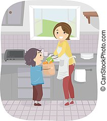 Helpful Son - Illustration Featuring a Boy Helping His Mom...