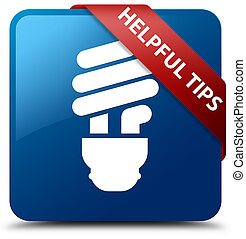 Helpful tips (bulb icon) blue square button red ribbon in corner