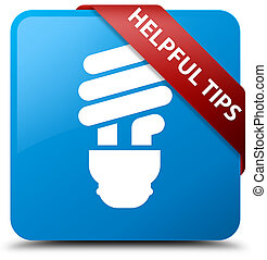 Helpful tips (bulb icon) cyan blue square button red ribbon in corner