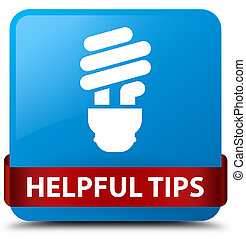 Helpful tips (bulb icon) cyan blue square button red ribbon in middle