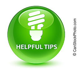 Helpful tips (bulb icon) glassy green round button